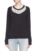 Metal fringe neck cotton sweatshirt