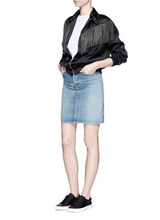 SAINT LAURENT Stud fringe satin bomber jacket
