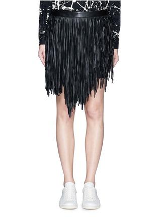 Saint Laurent-Asymmetric fringe leather mini skirt