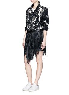 SAINT LAURENTAsymmetric fringe leather mini skirt
