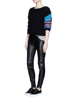 SAINT LAURENT Zip knee leather leggings