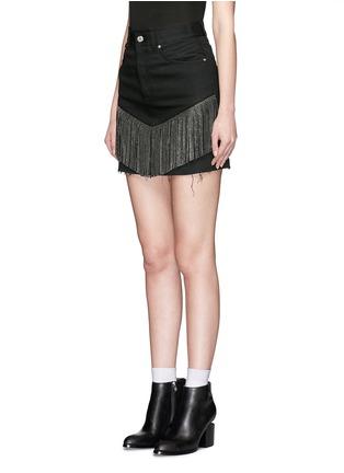 Front View - Click To Enlarge - SAINT LAURENT - Stud fringe mini denim skirt