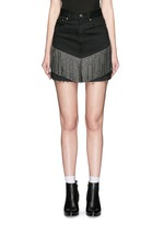 Stud fringe mini denim skirt