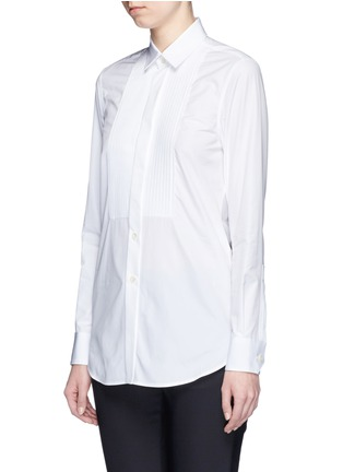 Front View - Click To Enlarge - Saint Laurent - Plissé pleat bib poplin shirt