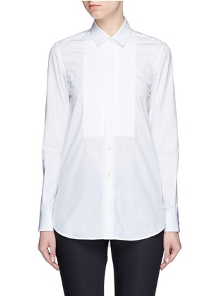 Main View - Click To Enlarge - Saint Laurent - Plissé pleat bib poplin shirt