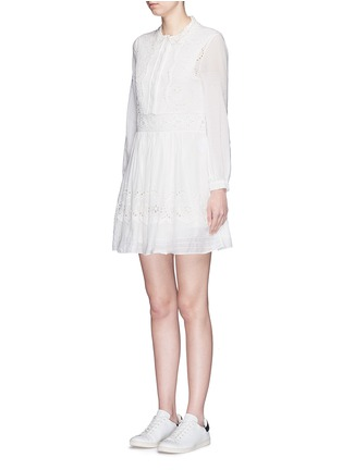 Front View - Click To Enlarge - Saint Laurent - Floral broderie anglaise voile shirt dress