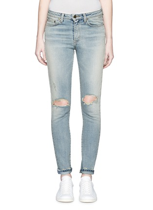 Detail View - Click To Enlarge - SAINT LAURENT - Ripped knee light wash jeans