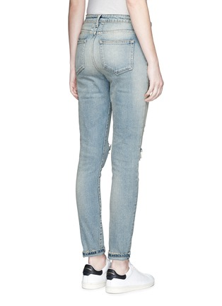 Back View - Click To Enlarge - SAINT LAURENT - Ripped knee light wash jeans