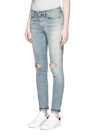 Front View - Click To Enlarge - SAINT LAURENT - Ripped knee light wash jeans