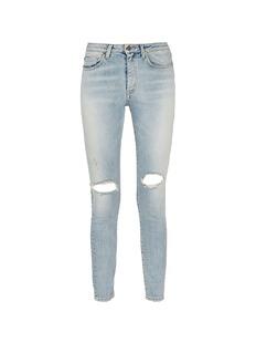 Saint LaurentRipped knee light wash jeans