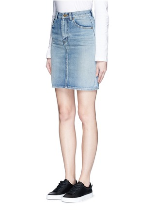 Front View - Click To Enlarge - SAINT LAURENT - Vintage wash denim skirt