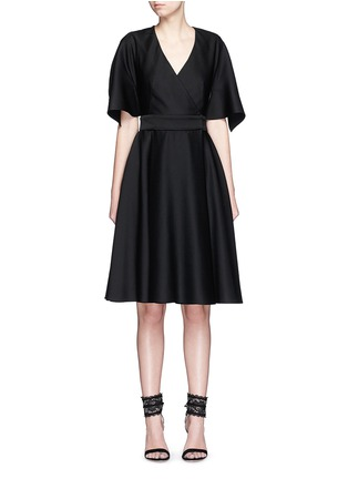 Main View - Click To Enlarge - Alexander McQueen - Cross back cape top wool dress