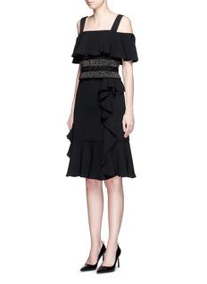 ALEXANDER MCQUEENOff-shoulder ruffle silk crepe dress