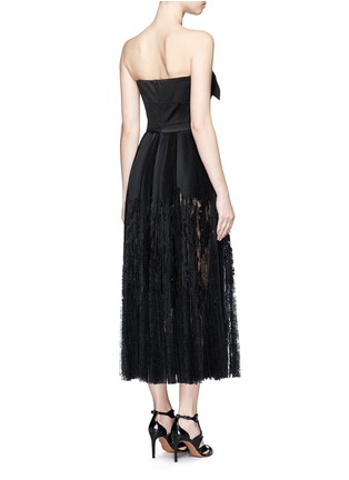 Back View - Click To Enlarge - Alexander McQueen - Bow satin strapless bustier pleat dress