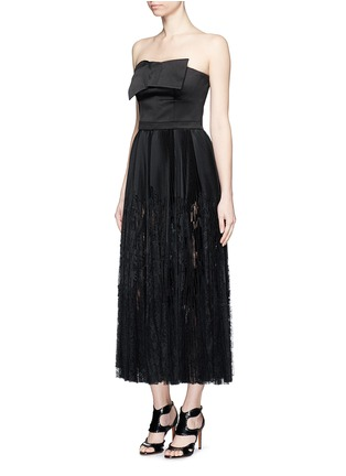 Figure View - Click To Enlarge - Alexander McQueen - Bow satin strapless bustier pleat dress