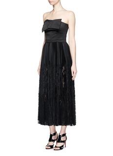 ALEXANDER MCQUEENBow satin strapless bustier pleat dress