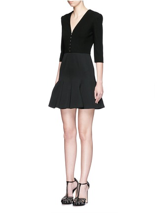 Front View - Click To Enlarge - Alexander McQueen - Hook-and-eye front cotton piqué dress