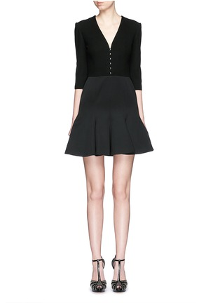 Main View - Click To Enlarge - Alexander McQueen - Hook-and-eye front cotton piqué dress