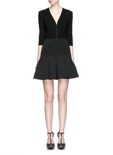 ALEXANDER MCQUEENHook-and-eye front cotton piqué dress
