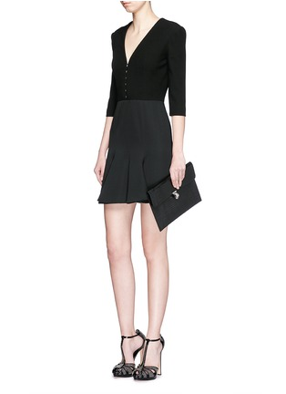Figure View - Click To Enlarge - Alexander McQueen - Hook-and-eye front cotton piqué dress
