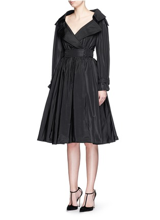 Front View - Click To Enlarge - Alexander McQueen - Off-shoulder taffeta trench dress