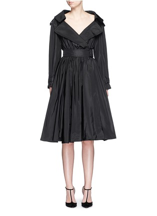 Main View - Click To Enlarge - Alexander McQueen - Off-shoulder taffeta trench dress