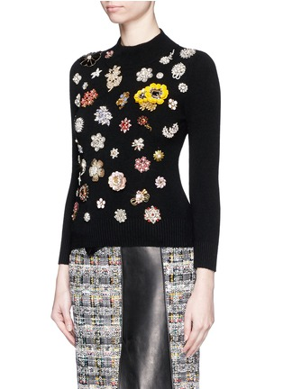 Front View - Click To Enlarge - Alexander McQueen - Glass crystal embellished cashmere sweater