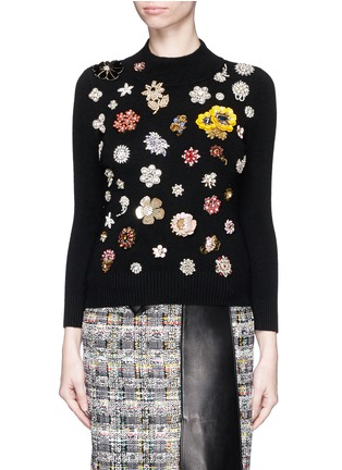Main View - Click To Enlarge - Alexander McQueen - Glass crystal embellished cashmere sweater