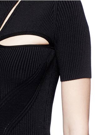 Detail View - Click To Enlarge - Alexander McQueen - Cutout yoke engineered rib knit dress