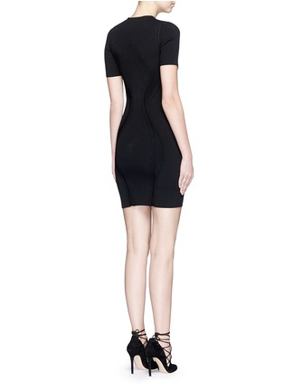 Back View - Click To Enlarge - Alexander McQueen - Cutout yoke engineered rib knit dress