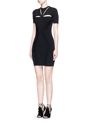 Front View - Click To Enlarge - Alexander McQueen - Cutout yoke engineered rib knit dress