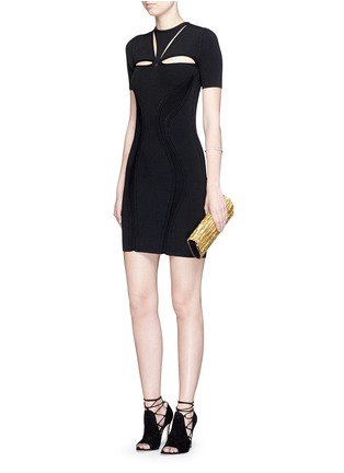 Figure View - Click To Enlarge - Alexander McQueen - Cutout yoke engineered rib knit dress
