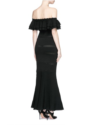 Back View - Click To Enlarge - Alexander McQueen - Ruffle knit off-shoulder maxi dress