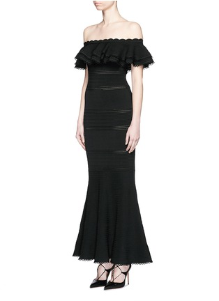 Front View - Click To Enlarge - Alexander McQueen - Ruffle knit off-shoulder maxi dress