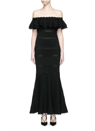 Main View - Click To Enlarge - Alexander McQueen - Ruffle knit off-shoulder maxi dress