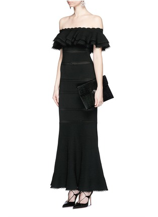 Figure View - Click To Enlarge - Alexander McQueen - Ruffle knit off-shoulder maxi dress