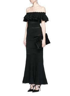 ALEXANDER MCQUEENRuffle knit off-shoulder maxi dress