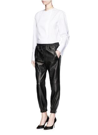 ALEXANDER MCQUEEN-拼色条纹羊皮运动裤