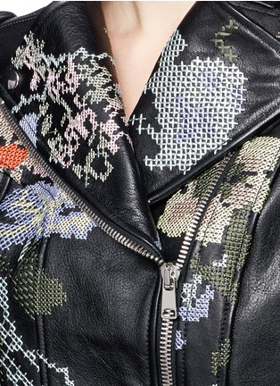Detail View - Click To Enlarge - Alexander McQueen - Cross stitch flower peplum leather jacket