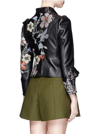 Back View - Click To Enlarge - Alexander McQueen - Cross stitch flower peplum leather jacket