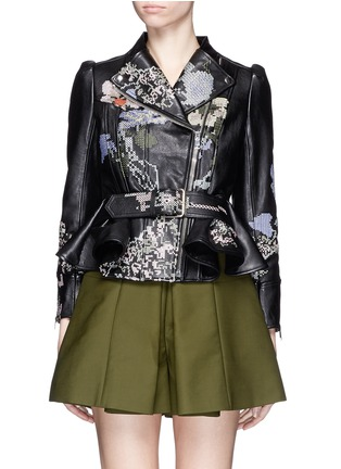 Main View - Click To Enlarge - Alexander McQueen - Cross stitch flower peplum leather jacket