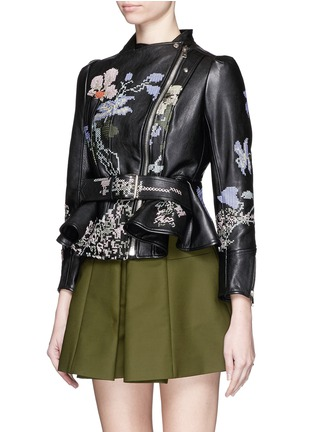 Figure View - Click To Enlarge - Alexander McQueen - Cross stitch flower peplum leather jacket