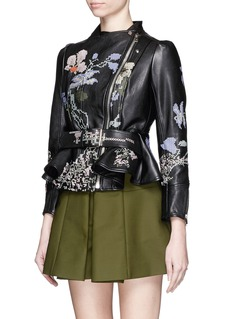 ALEXANDER MCQUEEN Cross stitch flower peplum leather jacket