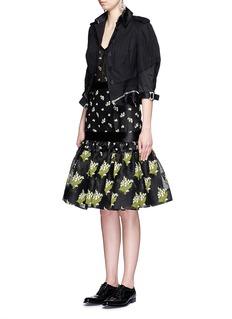 ALEXANDER MCQUEENBellflower jacquard sheer lace bustier dress