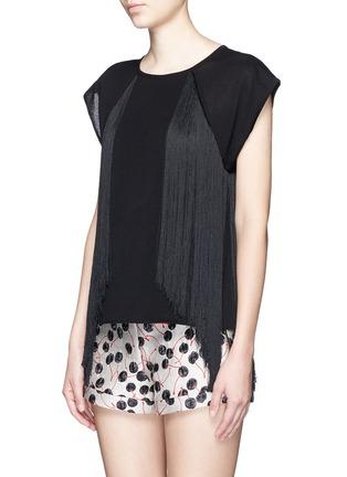 Giamba-Fringed jersey knit top