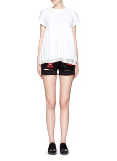 GIAMBAMix lip appliqué denim shorts