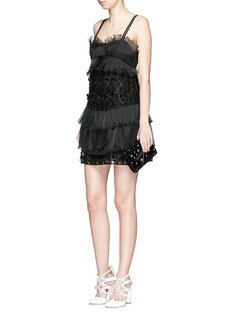 GIAMBAFloral appliqué tiered ruffle dress