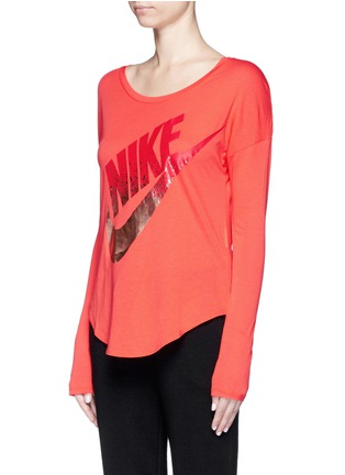 Front View - Click To Enlarge - Nike - 'AS Nike Signal' metallic logo print T-shirt