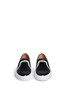 GIVENCHYZigzag trim saffiano leather skate slip-ons
