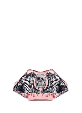 Back View - Click To Enlarge - Alexander McQueen - 'De Manta' tattoo embroidery satin clutch